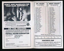 1993 Fosters Cup St Kilda v West Coast Football Record Eagles won the game