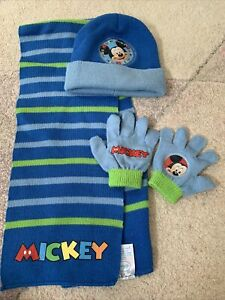 Boys Mickey Mouse Hat, Scarf And Gloves Set