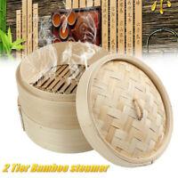 8'' Wooden Dim Sum Bamboo Steamer 2 Tier Dumplings Basket Steam Cooker Rice Cook