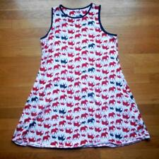 Lands' End Kids Girls Sz XL 16 Elephants Sleeveless Tank Dress Red White Blue