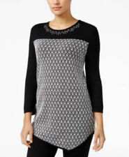 Alfred Dunner Women's Theater District Asymmetric Sweater Pullover Black Sz PM