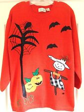 NEW Orange Fall Autumn Thanksgiving Ramie Cotton Pumpkin Pullover Sweater