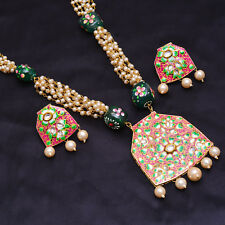 Gold Tone Necklace Set Kundan Meena Pearl Indian Bollywood Handmade Jewelry Gift