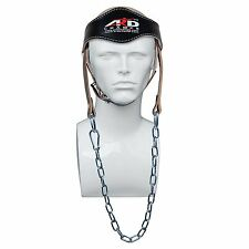 ARD Power Gym Weight LIFTING HEAD NECK Strength HARNESS STRAP Leather BLACK