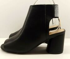NEW Ladies Open Toe Bootie UK 6 Black Open Heel Faux Leather Round Heel Festival