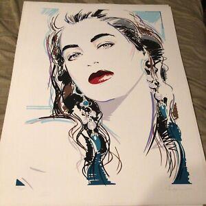 """Dennis Mukai Litho 1990 Beautiful Woman Wearing Long Earrings 27""""x36"""""""