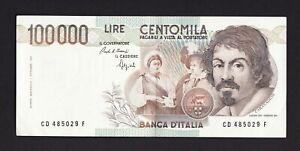 REPUBBLICA - BANCONOTA - 100000 LIRE CARAVAGGIO 1° TIPO - DECRETO 1990 - SPL+++