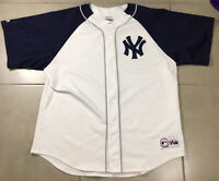 RARE Men's Vintage NY New York Yankees Sz 2XL Majestic White Navy Blue Jersey