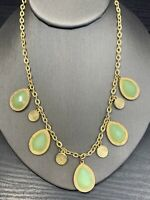 Vintage Necklace Gold Bib statement  Lucite Cabochons milky mint green