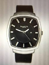 Kenneth Cole Watch KC1200 Black Leather Strap Black Dial