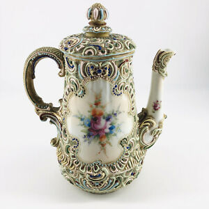 Antique Nippon Moriage Floral Hand Painted Floral Porcelain Coffee Pot with Lid
