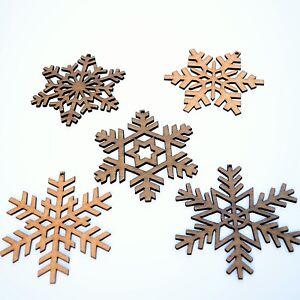 Rustic Snowflake Christmas Tree Decorations Hardwood Gift Set of 5 Xmas Present