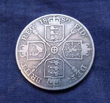 1889 Double Florin Four Shilling Victoria British .925 Silver Coin Fine