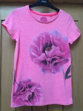 GIRLS NEXT PINK FLORAL T SHIRT AGE 11 YEARS