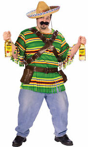 Tequila Pop N Dude Adult Plus Mens Costume Mexican Striped Theme Party Halloween
