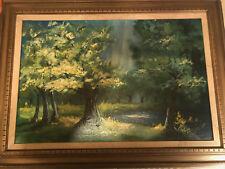 """Huge Vintage """"Impressionist Landscape Scene"""" Oil Painting - Signed And Framed"""