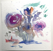 """2 ACEO Original Watercolor And Ink 4""""x4"""" Paintings"""