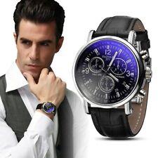 Reloj de pulsera para Hombre lujo casual banda Cuero movimiento Analógico Negro