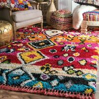 nuLOOM Transitional Alane Moroccan Tassel Shaggy Area Rug in Multi