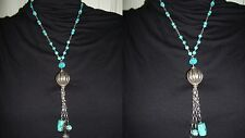 COLLANA COLLIER LUNGA NECKLACE  ARGENTO 925 SILVER TURCHESE TURQUOISE ARIZONA