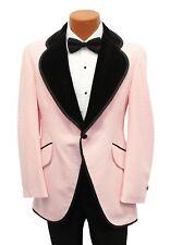 39R True Vintage Pink w/ Black Velvet Trim Tuxedo Coat Cutaway 1970 Costume 70s