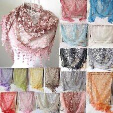 Women Lace Floral Print Triangle Veil Church Mantilla Scarf Shawl Wrap Tassel JX