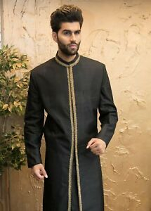 Black Silk Sherwani with Gold Size 40-44 - Formal Mens Indian Suit Bollywood