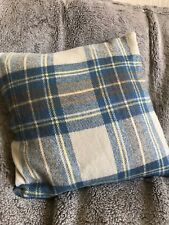 Wool, tartan, green, cream and blue cushion cover, green wool envelope back