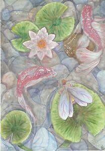 Print by Hannah Penlington, fairy watching koi fish, children art, fantasy,