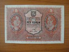 Banknote Tchécoslovaquie,Czechoslovakia, 5 1919