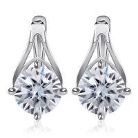 Simple Silver Color Zircon Crystal Stud Earrings Women Fashion Wedding Jewelry