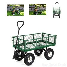 New Garden Cart Wagon Wheelbarrow Poly Pull Dump Removable Sides Steel Mesh Bed