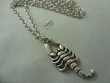 "Star Sign Scorpio Scorpion Tibetan Silver Charm Pendant, Long 30"" Chain Necklace"
