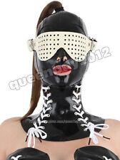 100% Latex Rubber Gummi Mask Hood Neck Corset Goggle Catsuit Suit Buckle Lace up