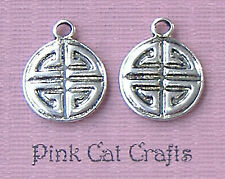 10 x Tibétain Argent Chinois Double Happiness Disc Charms Pendentifs Perles