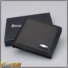 deluxe CHEVROLET Genuine 100% Cow Leather Bifold Wallet Men Slim Purse Car Pouch