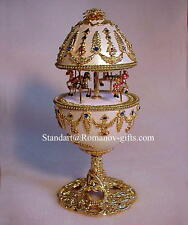 Russian Empress White & Gold Musical Carousel Egg & Faberge Pendant Necklace