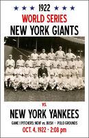 1922 World Series Poster - Giants vs. Yankees