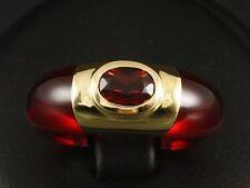 Französiche Goldschmiedearbeit Ring mit Granat 750/- Gelbgold