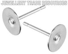 Sterling silver earring ear post & disque plaque ronde de 7mm