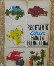 Recetario Arin para la buena cocina/1967?/Talleres Irimill/Juan Cabané  Felisart
