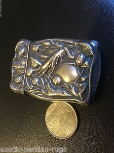 Beautiful Antique American Art Nouveau silver match safes by Gilbert