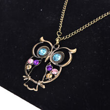 New Women Vintage Rhinestone OWL Pendant Long Chain Necklace Jewellery GiftRCCA