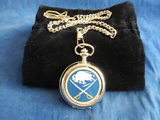 BUFFALO SABRES ICE HOCKEY NHL CHROME POCKET WATCH WITH CHAIN (NEW)