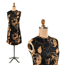 Vintage 60s Abstract Black + Tan Graphic Print Mod Sleeveless Shift Dress M L