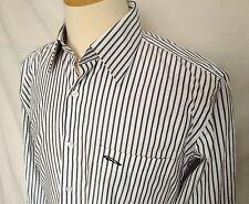 Mens Jaguar Of London Button Up Shirt Large White Slim Fit Striped Long Sleeves