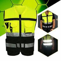 Women Men Safety High-Vis Reflective Jacket Multi Pockets Overall Work Wear Vest