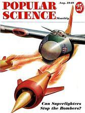 ART PRINT MAGAZINE COVER 1949 scienza popolari Superfighter piano bombe nofl0628
