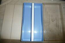 Slide projector slide container for 100 35mm slides ETA lift off lid blue base