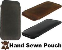 HAND SEWN OF DURABLE GENUINE LEATHER CASE COVER SLEEVE POUCH FOR MOBILE PHONES